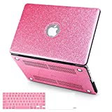 BELK-MacBook Air 13' Case,3 In 1 Glitter Bling Smooth PU Leather Coated PC Ultra-Slim Light Weight Hard Case With Keyboard Cover & Screen Protector For MacBook Air 13.3 Inch(Model:A1369/A1466)