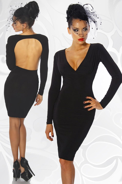 Rückenfreies Stretch-Kleid mit Langarm: Amazon.de: Bekleidung