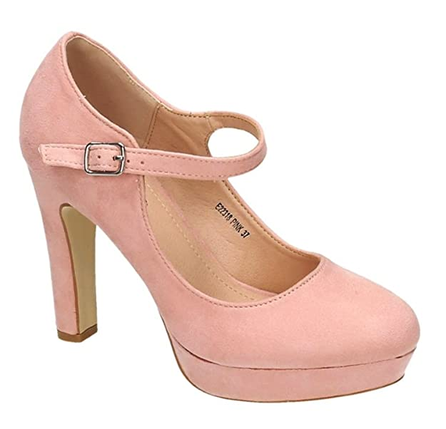 King Of Shoes Klassische Trendige Damen Mary Jane Riemchen Pumps Plateau Sandaletten Party High Heels Peep Toes 18