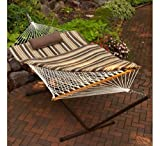 Bundle - 11 Ft. Cotton Rope Hammock and Metal Stand Set with Hammock Pad and Head Pillow, Plus Drink & Ipad Holder