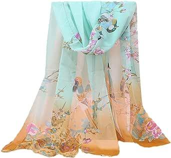 Lenfesh Elegantes Bufandas Para Mujer Fular seda Floral Estampado Fulares Playa Fiesta Chales Mantas de mujer