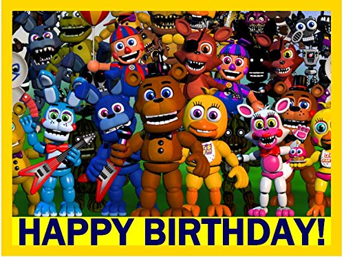 Price comparison product image Five Nights at Freddy's Edible Cake Image Topper (1 / 4 Sheet),  Happy Birthday Only