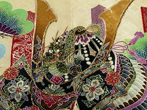【さらさ】 和がまま アンサンブル&袴 男の子用 金刺繍入り 祝着フルセット 三歳 男児着物 薄黄兜 3h-59