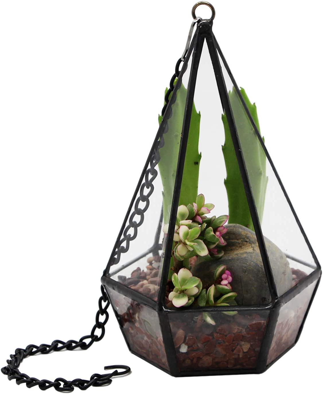Kimdio Wall Hanging Geometric Terrarium Modern Indoor Opening Polyhedron Tabletop Window Sill Balcony Decorative Plant Holder Display Box Succulent Moss Flower Pot Containers DIY