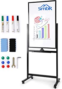 SIMBR Mobile Whiteboard, 40 x 24 inches Double-Sided Whiteboard on Wheels, Rolling Stand Portable Easel Frame for Office Home Classroom, with 4 Markers, 6 Magnets, 2 Erasers