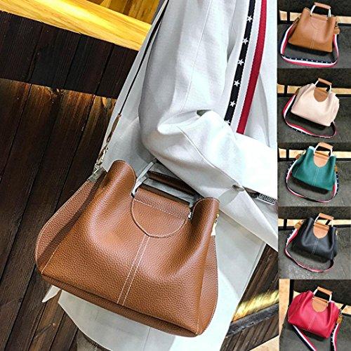 (Sinwo Women's Splice Leather Shoulder Bags With Corssbody Bag&Handbag Tote (Brown))