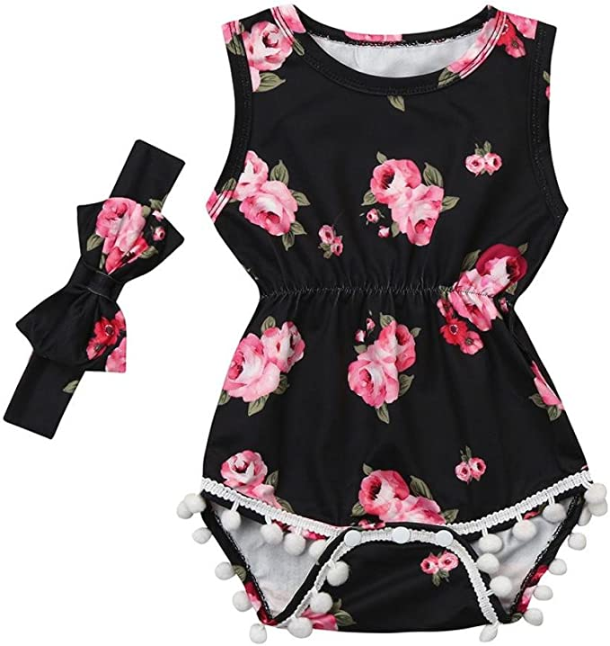 Nevera Toddler Baby Girls 2PCS Outfit Ruffle Sleeve Romper+Floral Short Pants Clothes Set