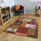 Milan Brown, Red, Orange, Beige & Cream Patchwork Rug 1568-S22-10 Sizes