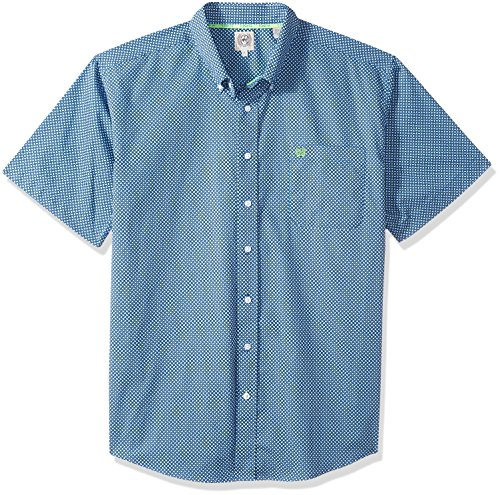 Cinch Men's Classic Fit Short Sleeve Button One Open Pocket Print Shirt, Royal Blue/Lime, S by Cinch (Image #1)