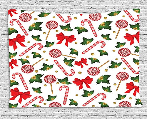 Tapestry, Holly Berry Mistletoe Traditional Red and White Patterned Sugary Food on Sticks, Wall Hanging for Bedroom Living Room Dorm, 80 W X 60 L Inches, Multicolor (Berry Tapestry)