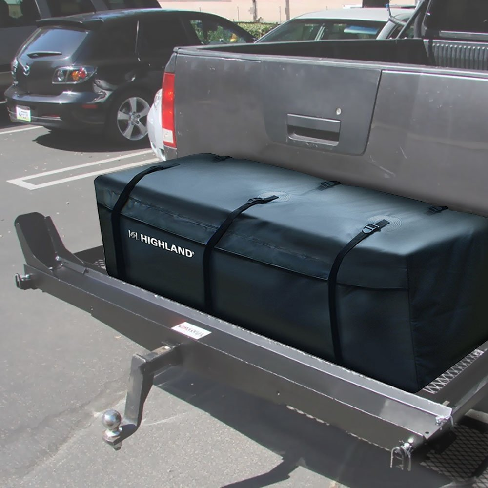 Indipartex Trailer Hitch Carrier Bag Sonically Welded Construction Protective Sports Gear Camping Equipment Mounted Cargo Trays Sporting Events Family Travel Strap Secure Laminated Fabric Black