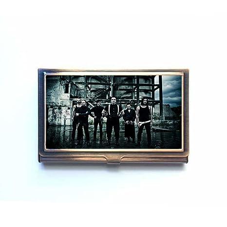 Rammstein imagen personalizada bronce nombre de la empresa titular de la tarjeta caja de acero inoxidable