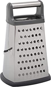 MorNon Box Grater for Kitchen Stainless Steel Handheld Vegetable Shredder with 4 Sides, Wide Handle Non-slip Bottom, Perfect to Parmesan Cheese, Vegetables, Ginger, Silver