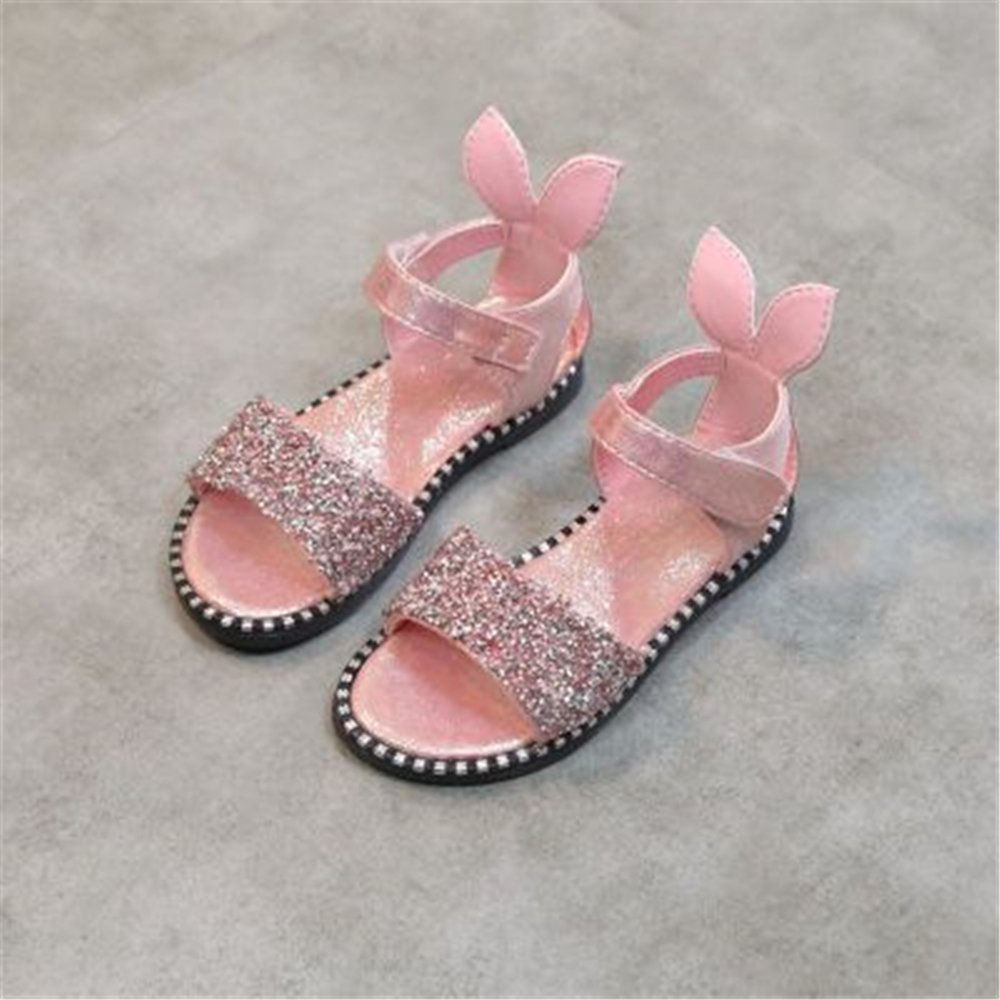 coollight Girls Sandal Summer Dress-up Shoes Peep Toes Bow-Knot Princess Shoes