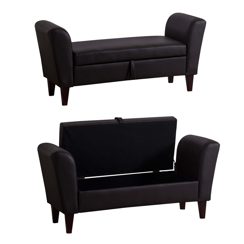 Homcom Storage Sofa Bench Armed Bed Foot Stool Ottoman Footrest Pu