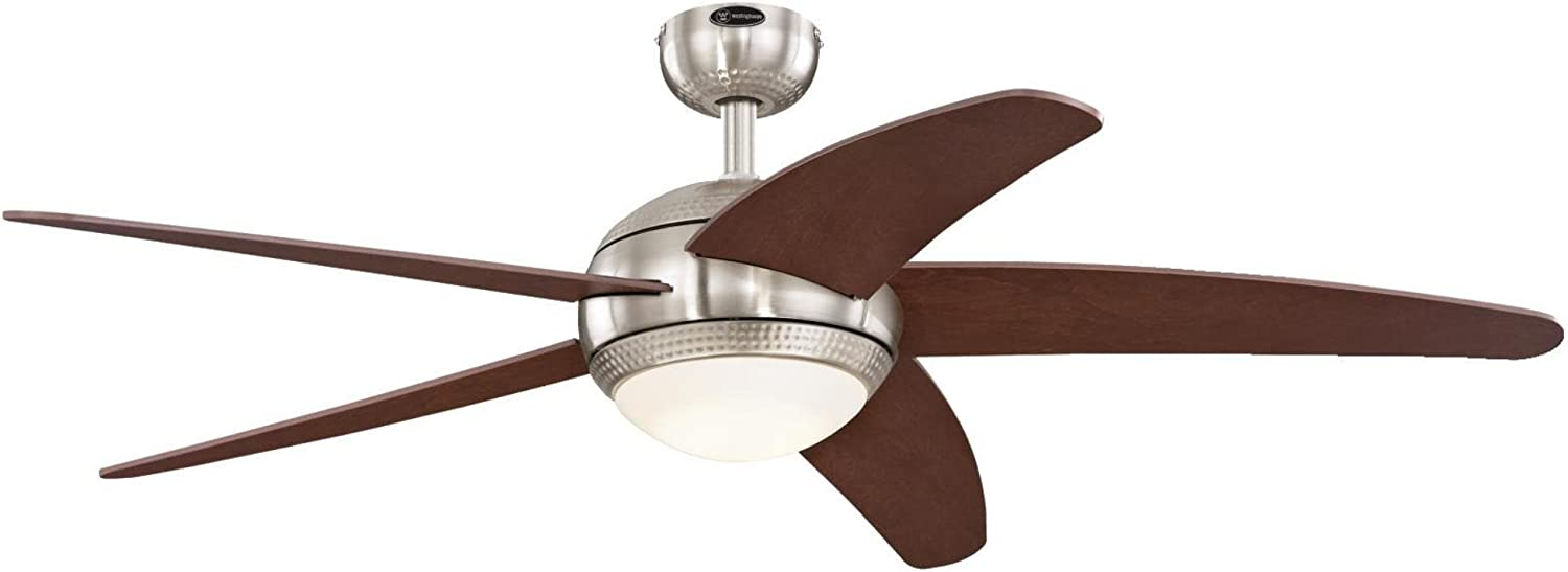 Westinghouse Lighting 7206500 Bendan 52-inch Brushed Nickel with Hammered Accents Indoor Ceiling Fan, Dimmable LED Light Kit with Opal Frosted Glass