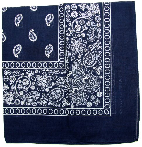 Novelty Bandanas Paisley Cotton Bandanas (Navy Blue, 22 X 22 in)