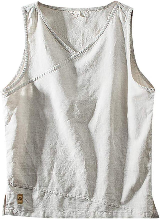 AG&T Hombre Chalecos de Athletic sin Mangas T Shirt Todos los tamaños y ColoresNueva Moda para Algodón Lino Color sólido Sin Mangas Retro Chaleco Tops Blusa: Amazon.es: Deportes y aire libre