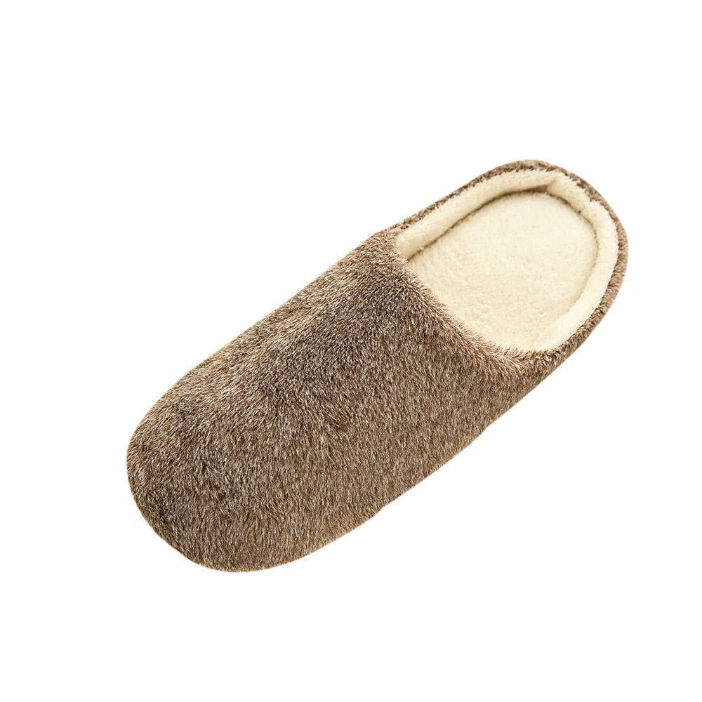 Men Plush Soft Slippers Warm Home Indoors Anti-slip Winter Floor Bedroom Shoes