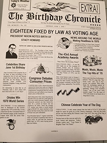 PERSONALIZED BIRTHDAY CHRONICLE 8.5 x 11 inch REGULAR WHITE PAPER with free ship to USA - Years from 1900 thru 2016!