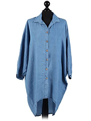 Italian Batwing Denim Shirt (Light Denim)