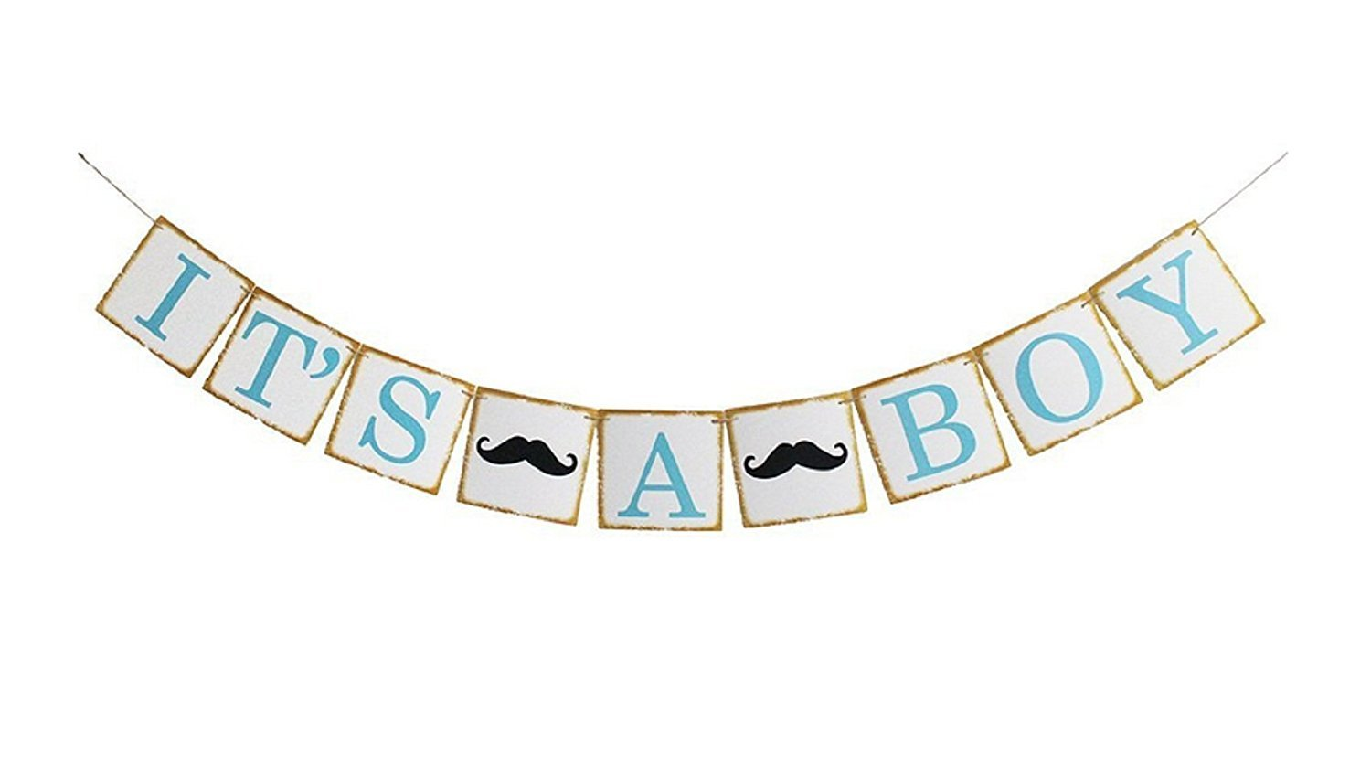 Firefairy Its A Boy with Mustache Sign Garland Bunting Banner,Boy Baby Shower,Birthday Party Decoration.