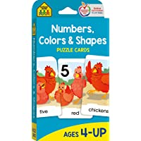 School Zone - Numbers, Colors & Shapes Puzzle Cards - Ages 4+, Numbers, Words, Vocabulary, Animal Names, Counting, and…