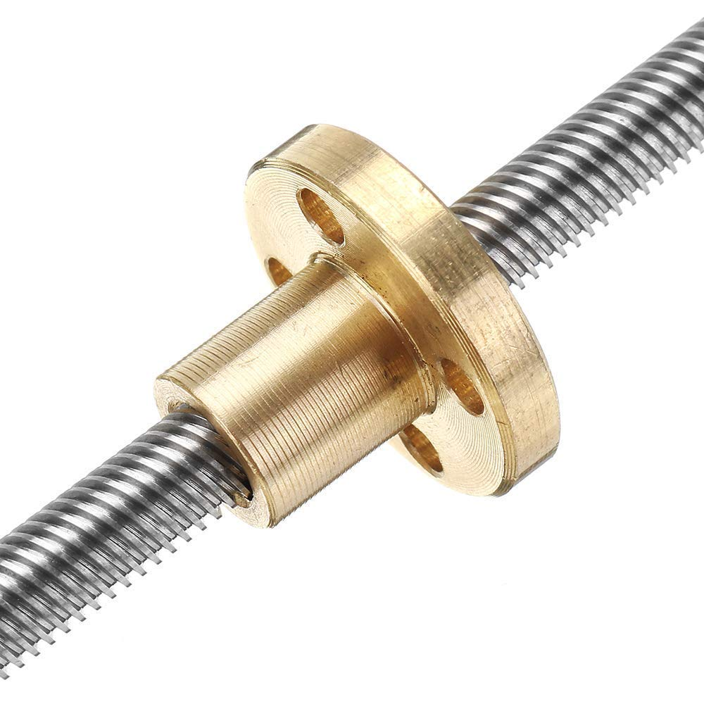 Machifit 100mm T6 Lead Screw 6mm Thread 1mm Pitch Lead Screw with Flange Copper