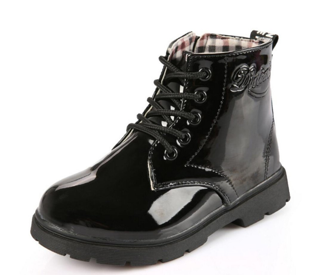 Otamise Girls Candy Color Lace Up Light Weight Waterproof Martin Boots Patent Leather Casual Shoes Black US 11.5M