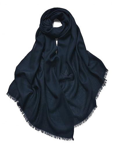 Prettystern - 100% lana unicolor con deshilachados hilado fino 80 Bufanda Pashmina - 15 colores
