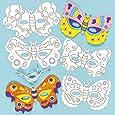 Lot de 6 Masques à colorier avec motif Papillon comprenant 6 différent designs - Idéal pour le Carnaval ou les party masquées