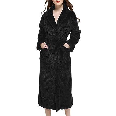 Afibi Women's Flannel Robe Kimono Spa Long Bathrobe With Side Pockets