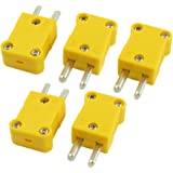 SODIAL(R) 5 Pcs Yellow Plastic Case Flat Male 2-Pin K Type Thermocouple Wire Connector