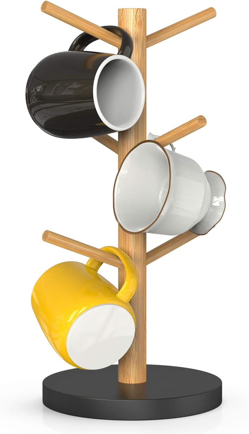 Bamboo Mug Rack, Coffee Mug Tree, Coffee Cup Holder, Coffee Bar Accessories with 6 Hooks