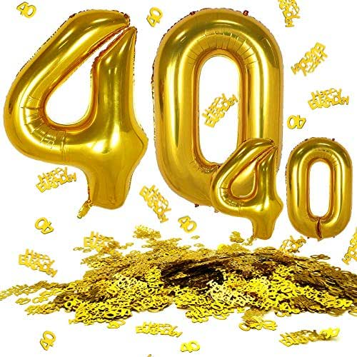 MOVINPE 40 Inch Gold Number 40 Jumbo Foil Balloons Plus 16 Inch Gold Number 40 Foil Balloons Plus 40th Happy Birthday Table Confetti, Party Decorations Anniversary Event