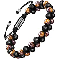 Xikeo Mens Lava Rock Bracelet, Tiger Eye Bead Bracelet for Men Natural Stone Yoga Essential Oil Bracelets for Gift