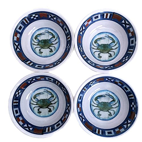 Nantucket Home Crab Coastal Melamine Plastic Butter Dip Bowls Set of 4 (Blue Crab)