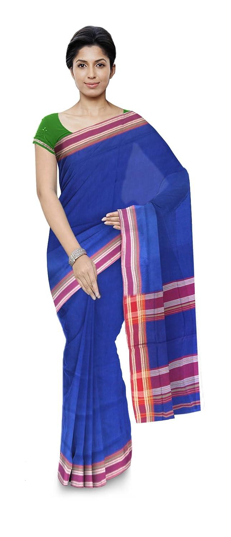 Blue Color Maheshwari Cotton Silk Saree with Blouse Piece
