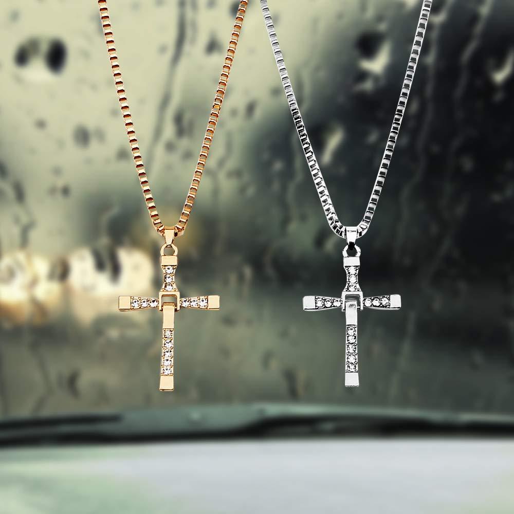Dekoration f/ür Auto R/ückspiegel Strass Kreuz Anh/änger Innenraum Auto Dekoration Gold