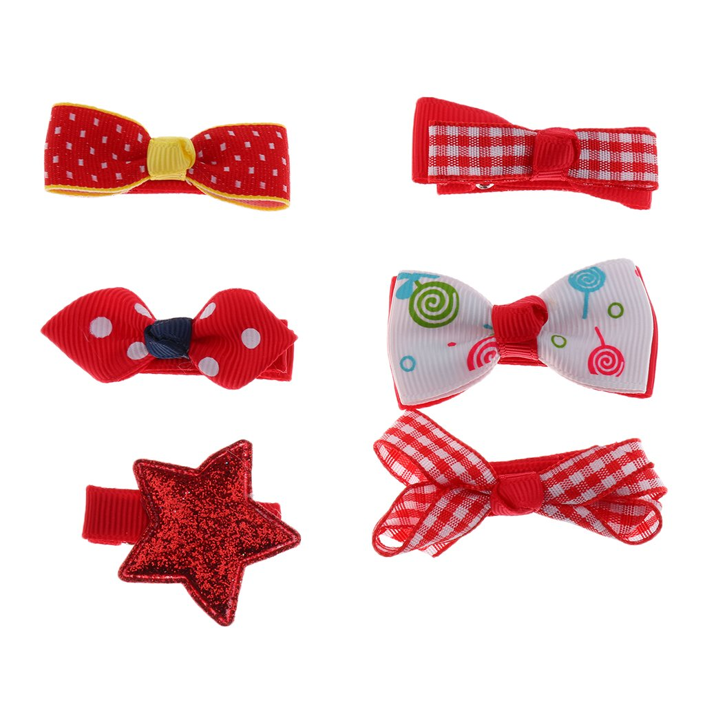 6pcs Mixed Ribbon Bow Hairpin Hair Clips for Girls Kids Hair Accessories - Brown, 2inch/5cm MagiDeal STK0155008752