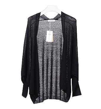 9694b5746121 Women s Open Front Cardigan Long Sleeve Casual Thin Linen Sweater Black