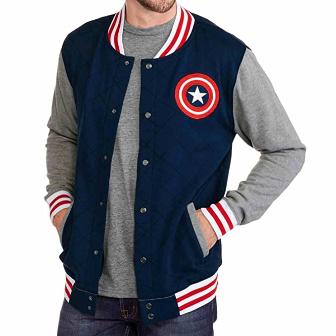 Men's Vintage Style Coats and Jackets Marvel Comics Mens Blue Captain America Varsity Jacket Sweatshirt $34.99 AT vintagedancer.com