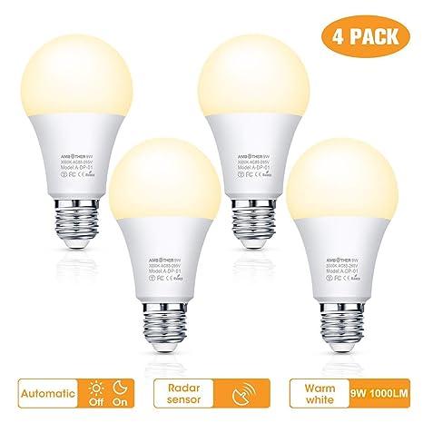 AMBOTHER E27 LED Glühbirne mit Bewegungsmelder und Dämmerungssensor Smart Lampen Warmweiß 1000LM 9W ersetzt 110W Energiesparl