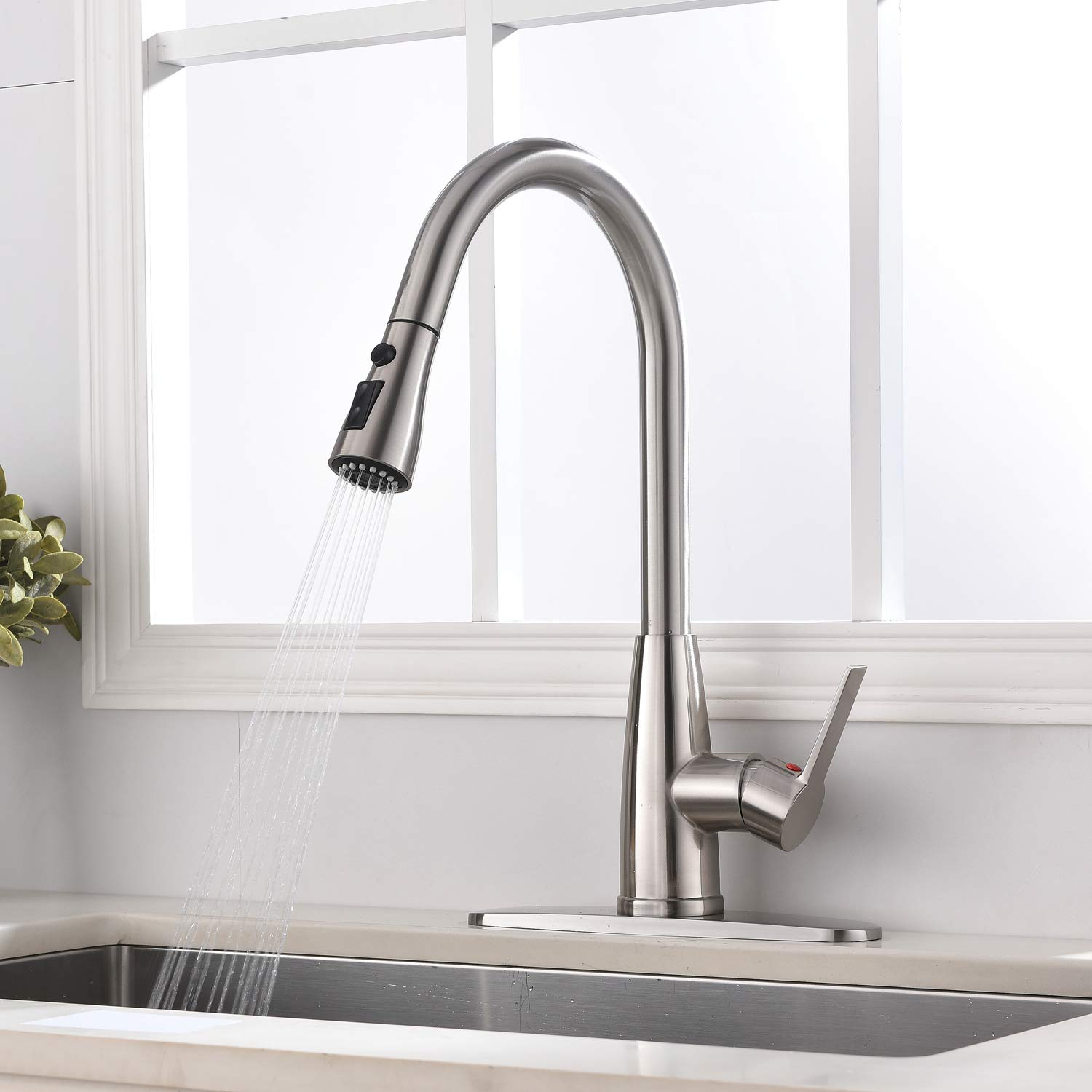 Hotis Modern High Arc 1 or 3 Hole Single Handle Stainless Steel Prep Sprayer Pull Out Pull Down Sprayer Kitchen Sink Faucet, Brushed Nickel with Deck Plate by HOTIS HOME (Image #6)