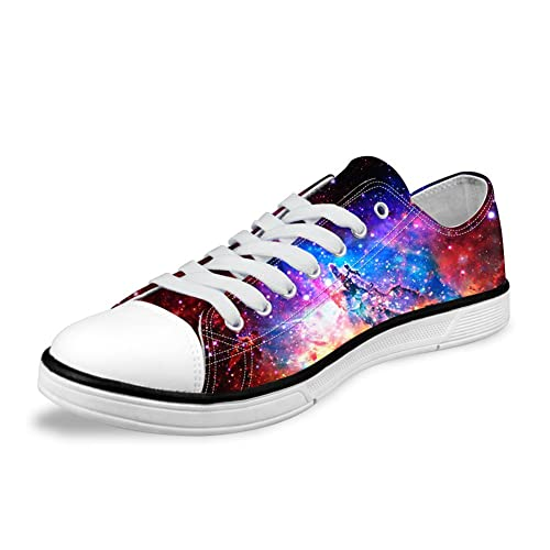 83e53061b9651 FOR U DESIGNS Stylish Unisex Galaxy Print Canvas Fashion Sneaker Casual  Lace-up Low Top Flat Shoes