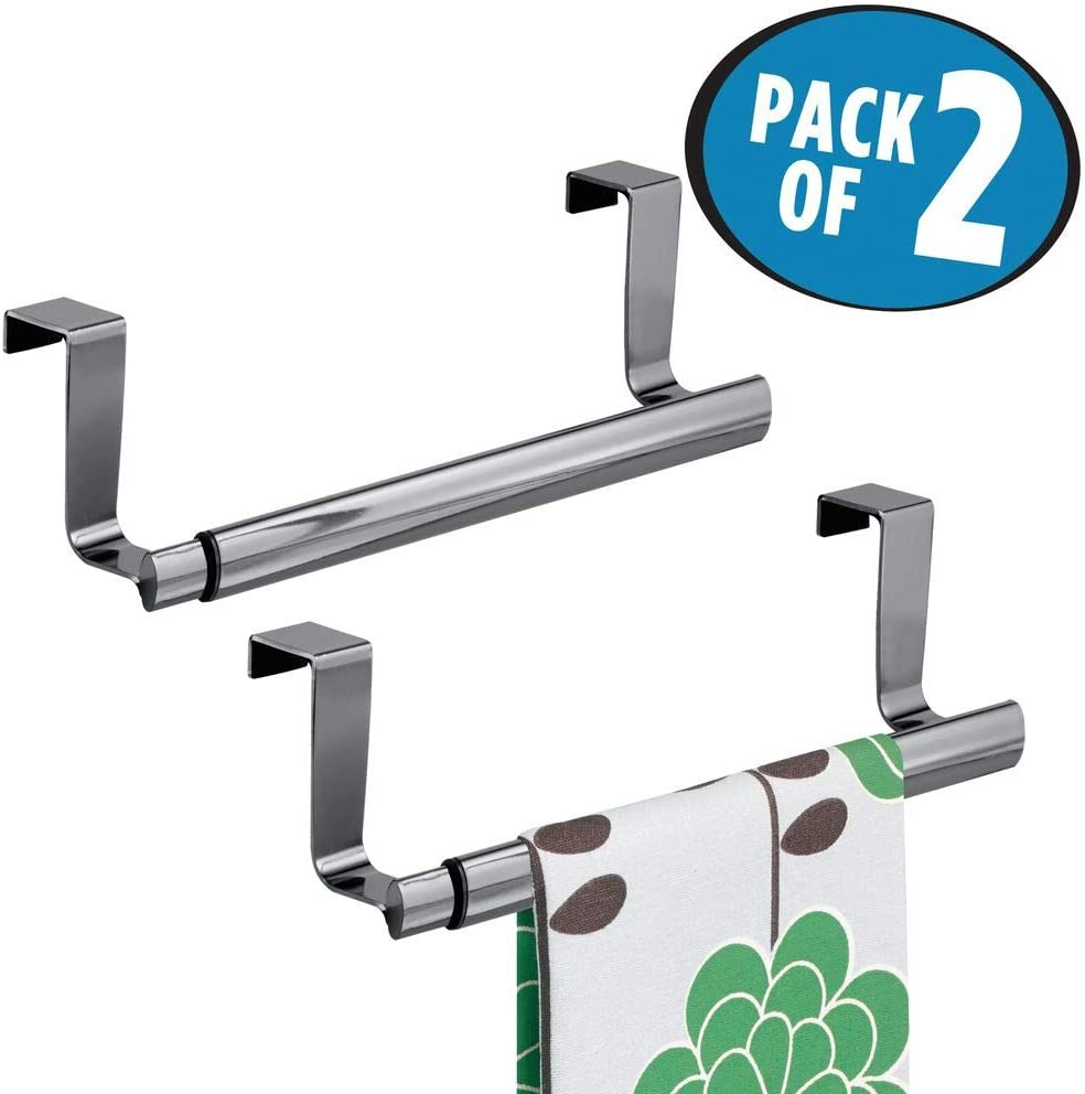 Bronze 2 Pack Dish Expandable Kitchen Over Cabinet Strong Steel Towel Bar Storage for Hand 9.25 to 17 Wide mDesign Adjustable and Tea Towels Hang on Inside or Outside of Doors