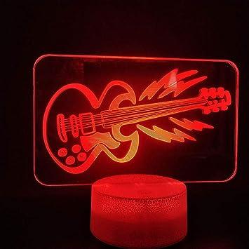 LAMPS 7-Color Touch 3D Carga Eléctrica Noche Guitarra Luz Juguetes ...