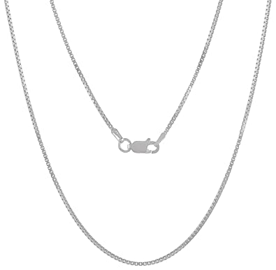 Sterling Silver Box Chain 1.3mm Genuine Solid 925 Italy Classic New Necklace