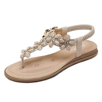 1e3fa23f796c Ansenesna Sandalen Damen Sommer Leder Flach Glitzer Offen Zehentrenner  Elegant Sommerschuhe Stoff Comfort Romeinse Schuhe (