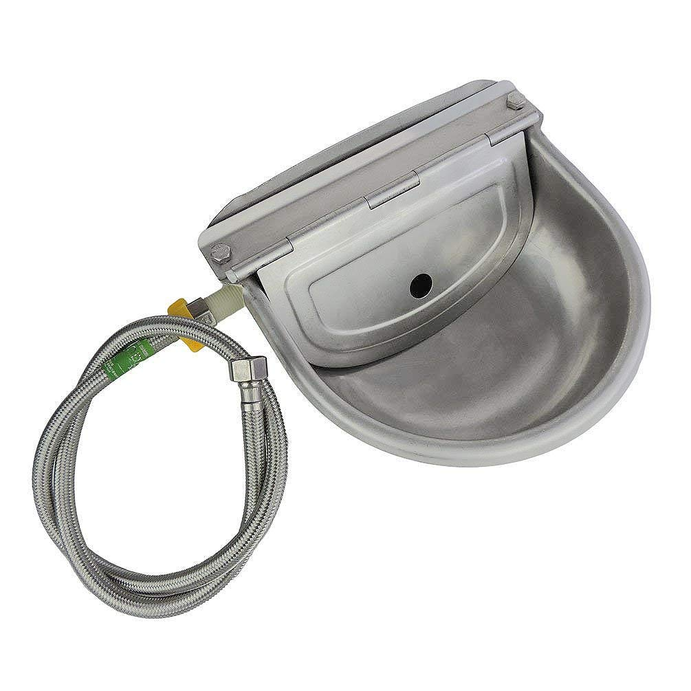 Lucky Farm Automatic Water Feeder Trough Bowl with Pipe for Cattle Horse Goat Sheep Dog Animals Stainless Pet Livestock Tool by Lucky Farm